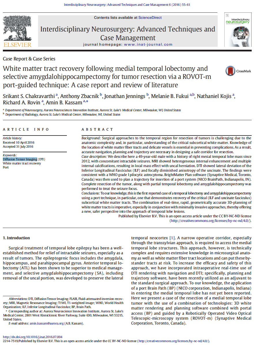 White matter tract recovery following medial temporal lobectomy and selective amygdalohippocampectomy for tumor resection via a ROVOT-m port-guided technique: A case report and review of literature