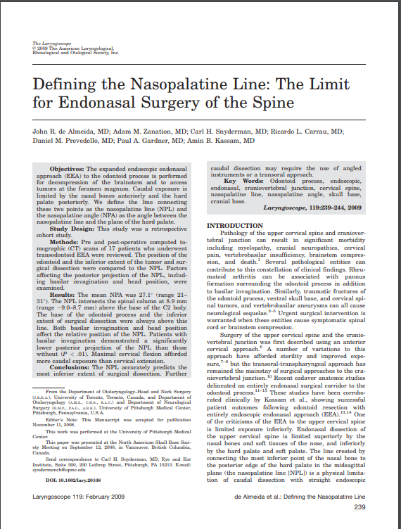 Defining the Nasopalatine Line: The Limit for Endonasal Surgery of the Spine