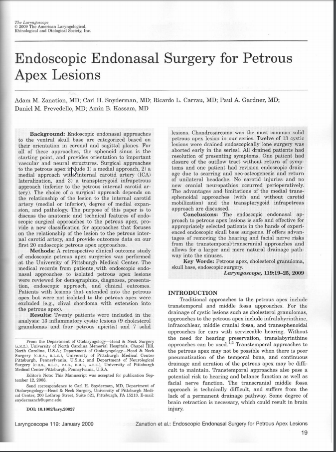 Endoscopic Endonasal Surgery for Petrous Apex Lesions