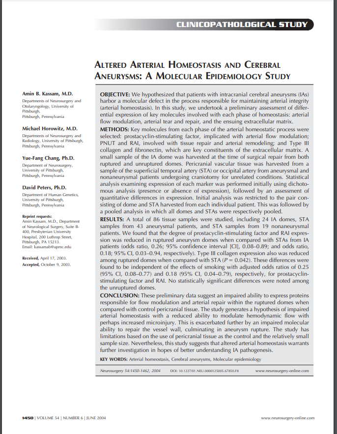 ALTERED ARTERIAL HOMEOSTASIS AND CEREBRAL ANEURYSMS: A MOLECULAR EPIDEMIOLOGY STUDY