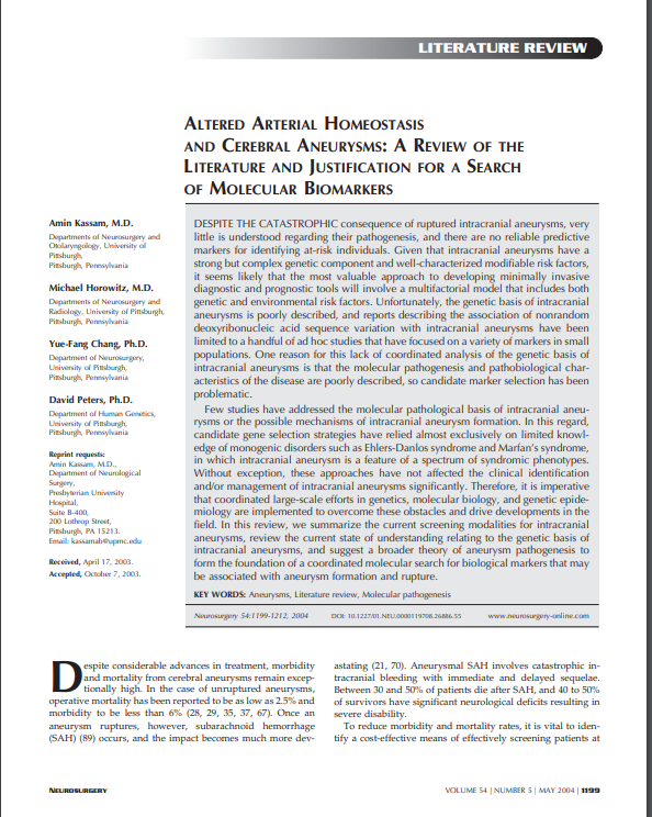 ALTERED ARTERIAL HOMEOSTASIS AND CEREBRAL ANEURYSMS: A REVIEW OF THE LITERATURE AND JUSTIFICATION FOR A SEARCH OF MOLECULAR BIOMARKERS