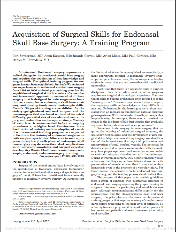Acquisition of Surgical Skills for Endonasal Skull Base Surgery: A Training Program