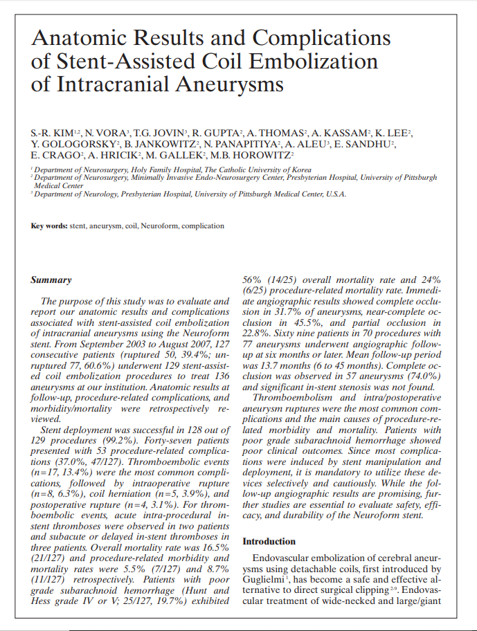 Anatomic Results and Complications of Stent-Assisted Coil Embolization of Intracranial Aneurysms
