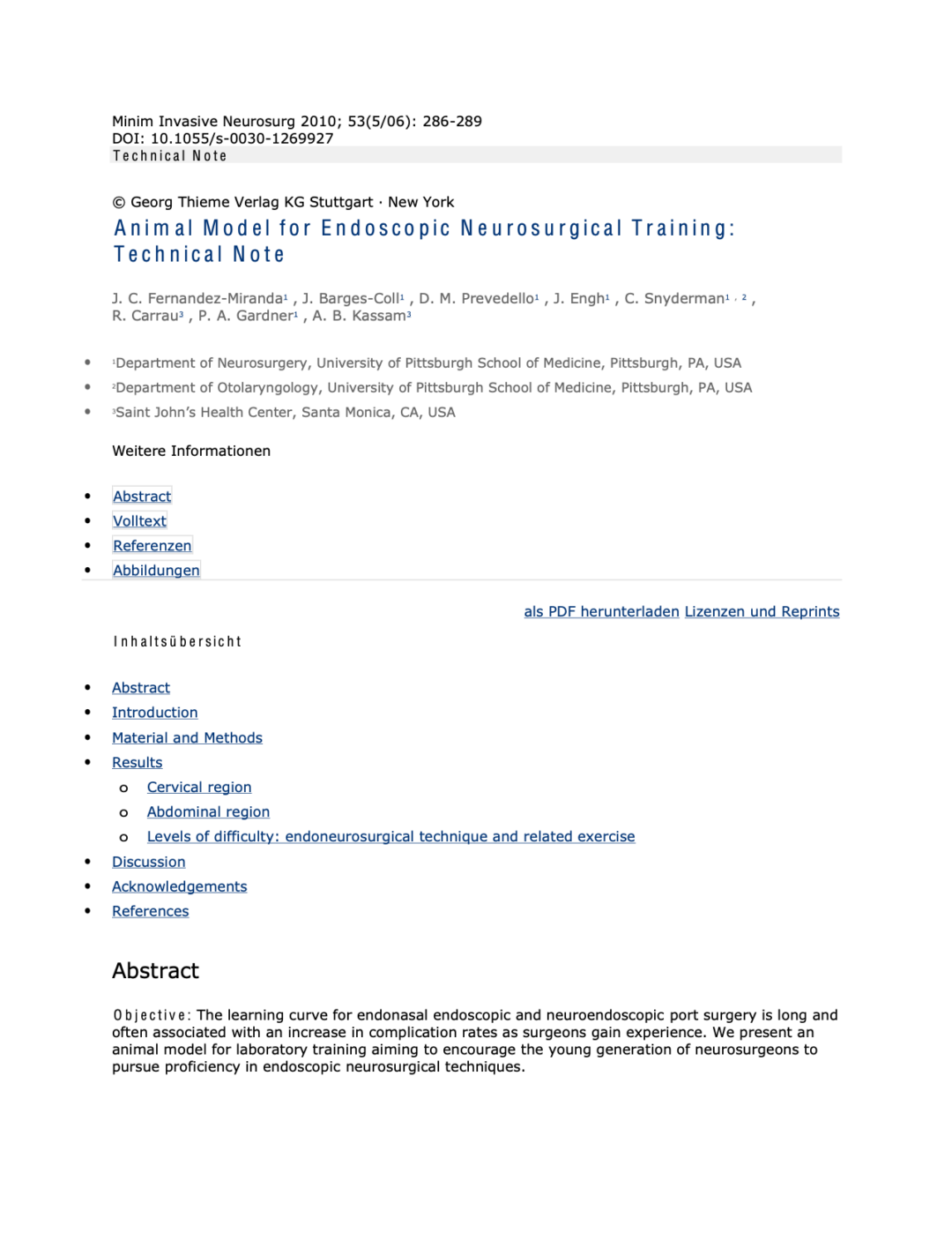Animal Model for Endoscopic Neurosurgical Training Technical Note