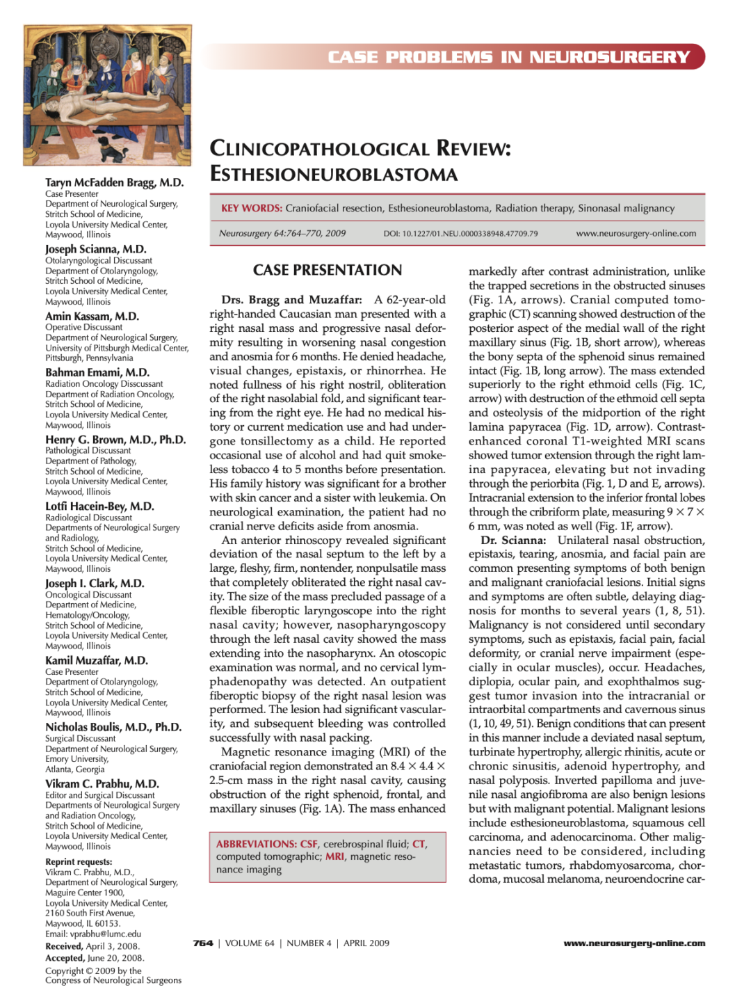 CASE PROBLEMS IN NEUROSURGERY CLINICOPATHOLOGICAL REVIEW: ESTHESIONEUROBLASTOMA
