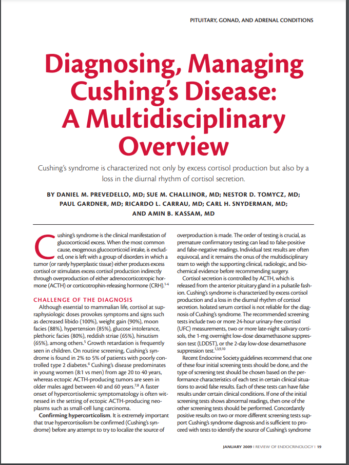 Diagnosing, Managing Cushing's Disease: A Multidisciplinary Overview