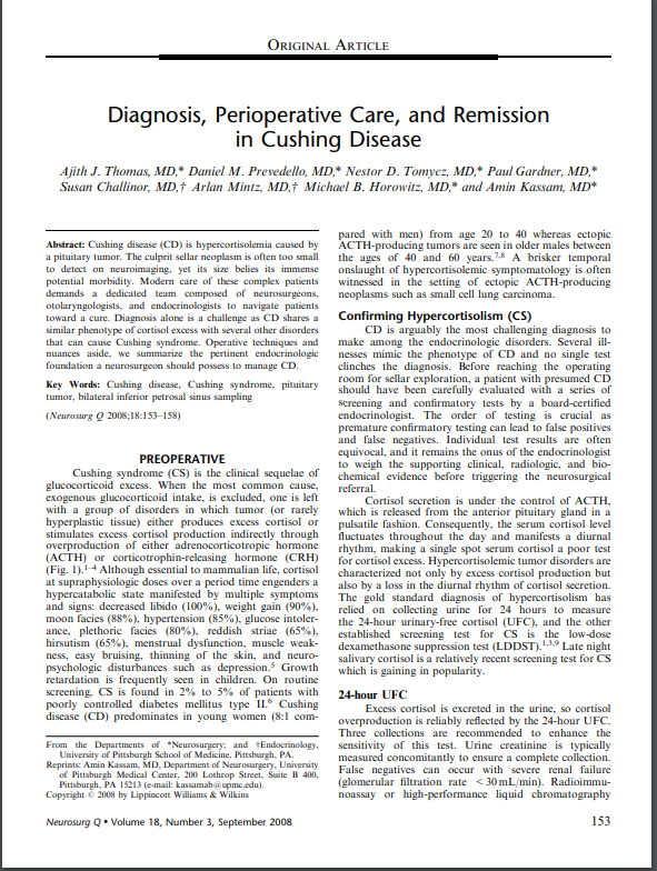 Diagnosis, Perioperative Care, and Remission in Cushing Disease