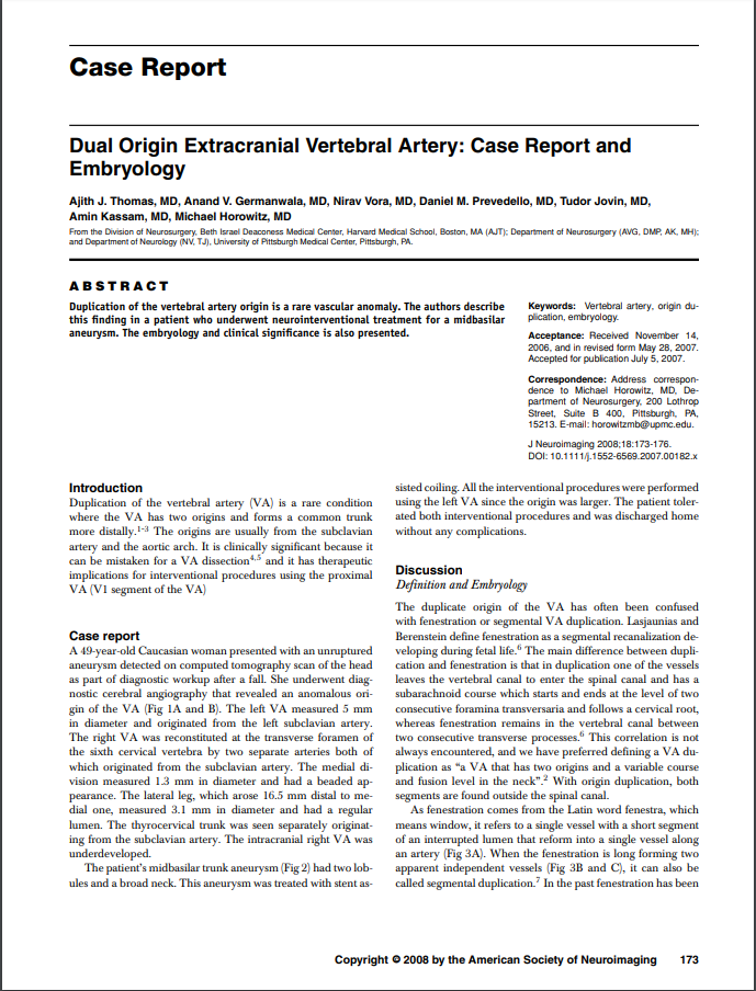 Dual Origin Extracranial Vertebral Artery: Case Report and Embryology