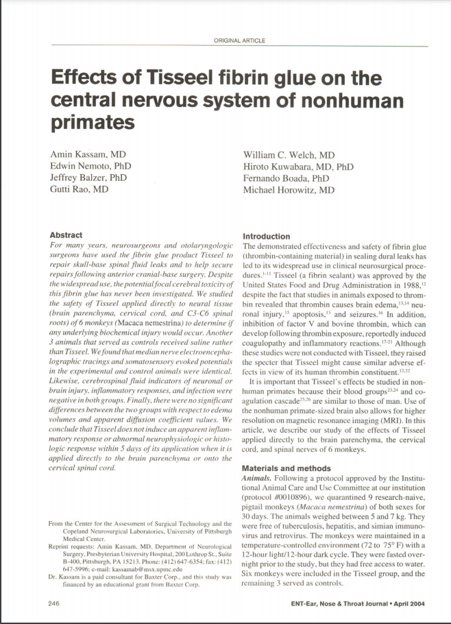 Effects of Tisseel fibrin glue on the central nervous system of nonhuman primates