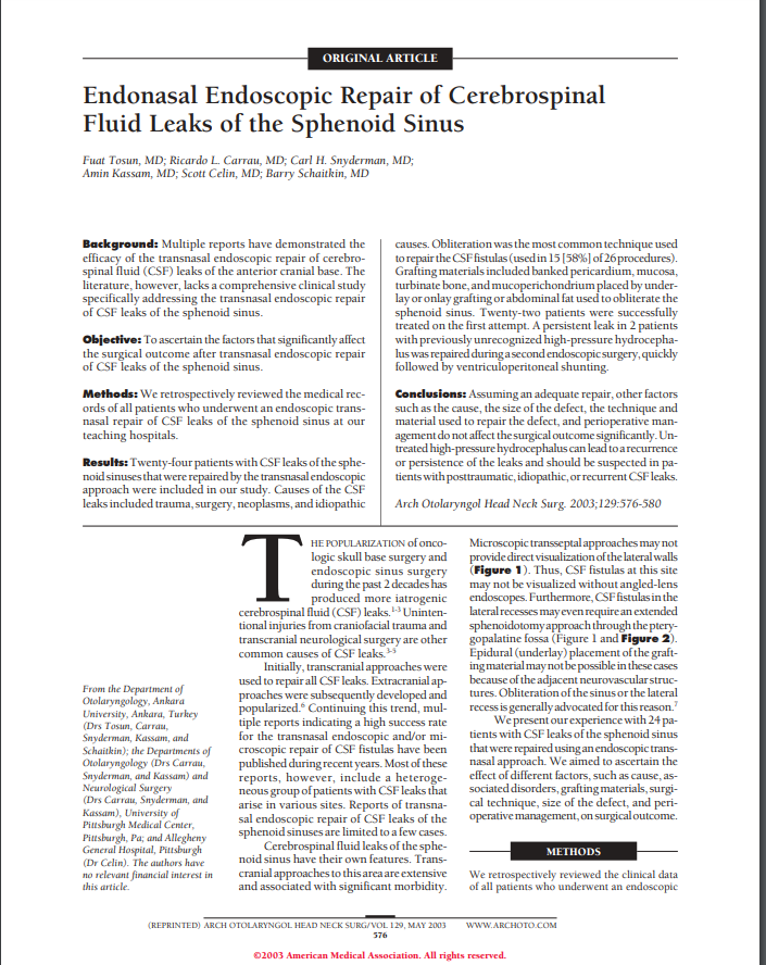 Endonasal Endoscopic Repair of Cerebrospinal Fluid Leaks of the Sphenoid Sinus