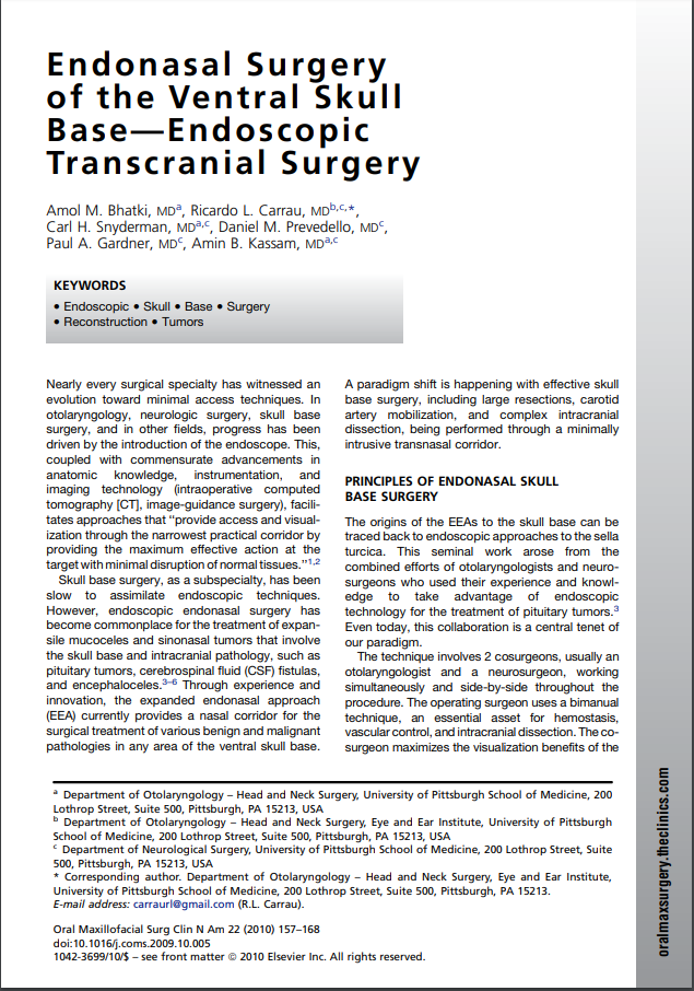 Endonasal Surgery of the Ventral Skull Base—Endoscopic Transcranial Surgery