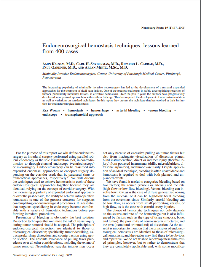 Endoneurosurgical hemostasis techniques: lessons learned from 400 cases