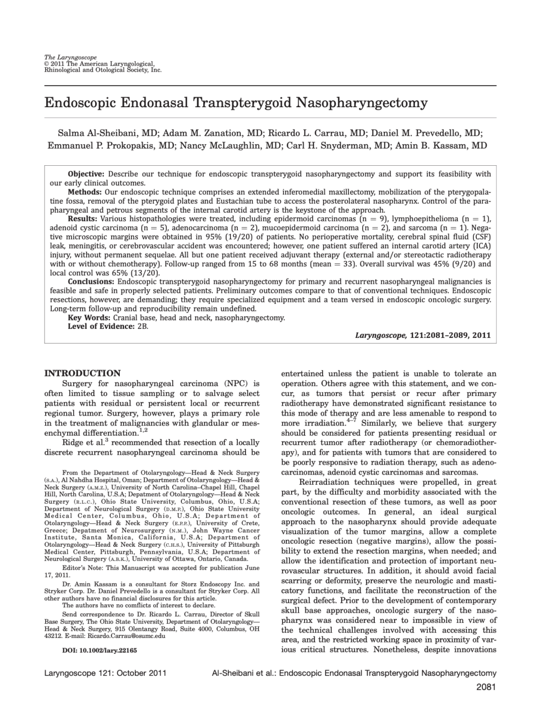 Endoscopic Endonasal Transpterygoid Nasopharyngectomy