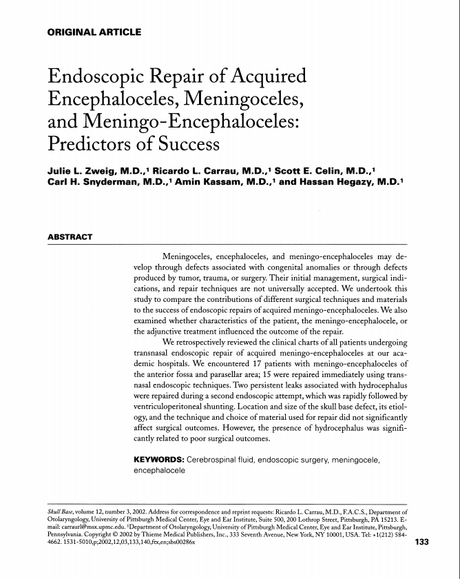 Endoscopic repair of acquired encephaloceles, meningoceles, and meningo-encephaloceles: predictors of success
