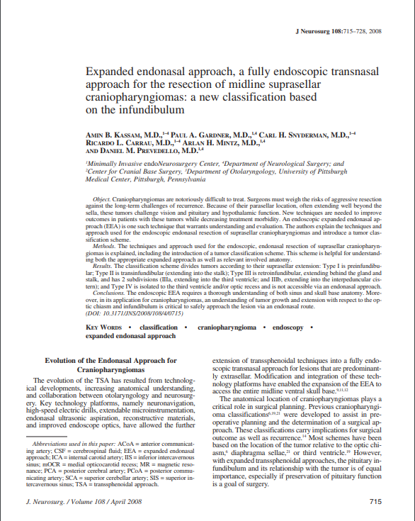 Expanded endonasal approach, a fully endoscopic transnasal approach for the resection of midline suprasellar craniopharyngiomas: a new classification based on the infundibulum
