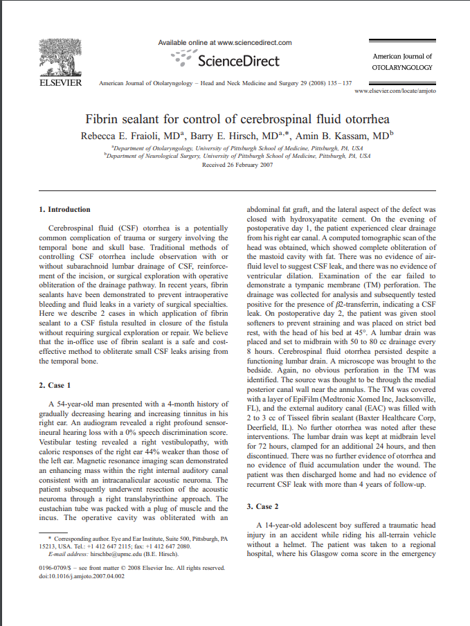 Fibrin sealant for control of cerebrospinal fluid otorrhea