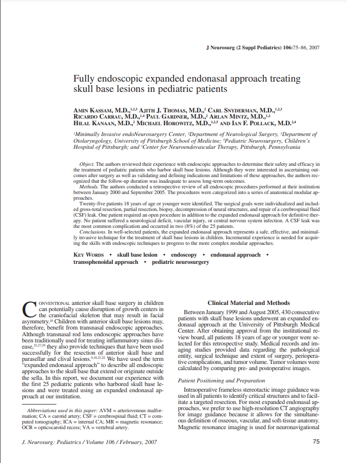 Fully endoscopic expanded endonasal approach treating skull base lesions in pediatric patients