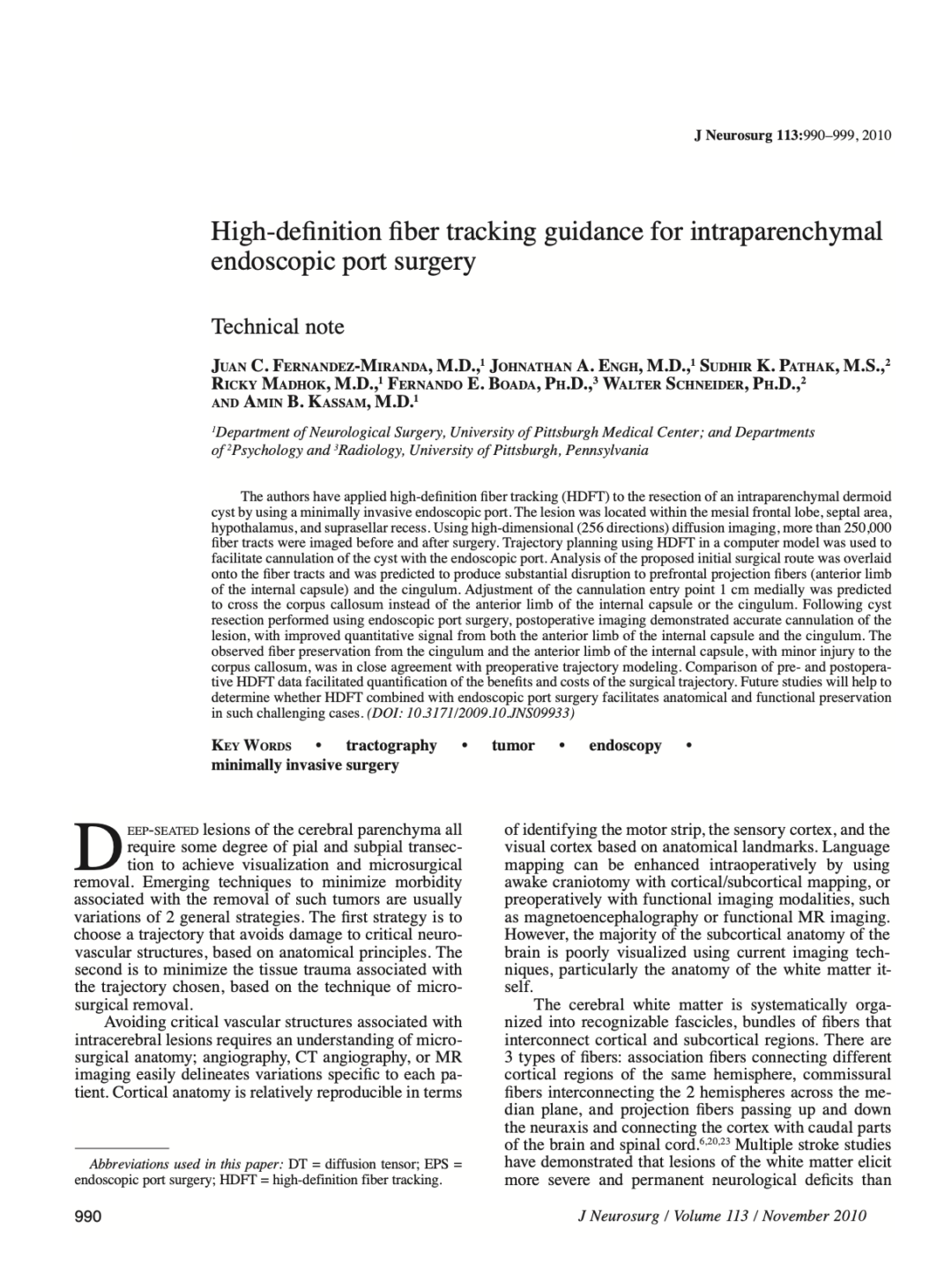 High-definition fiber tracking guidance for intraparenchymal endoscopic port surgery