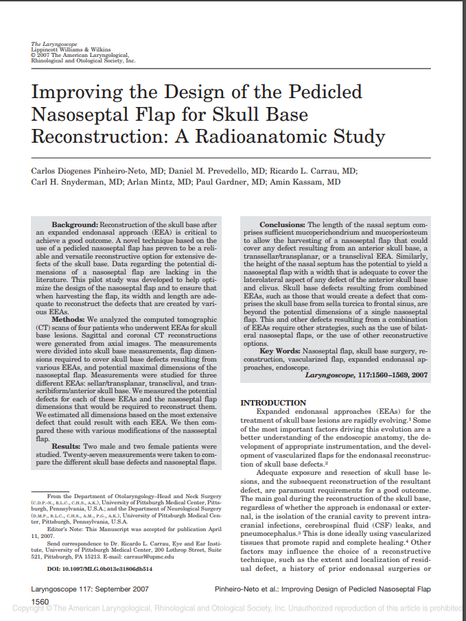 Improving the Design of the Pedicled Nasoseptal Flap for Skull Base Reconstruction: A Radioanatomic Study