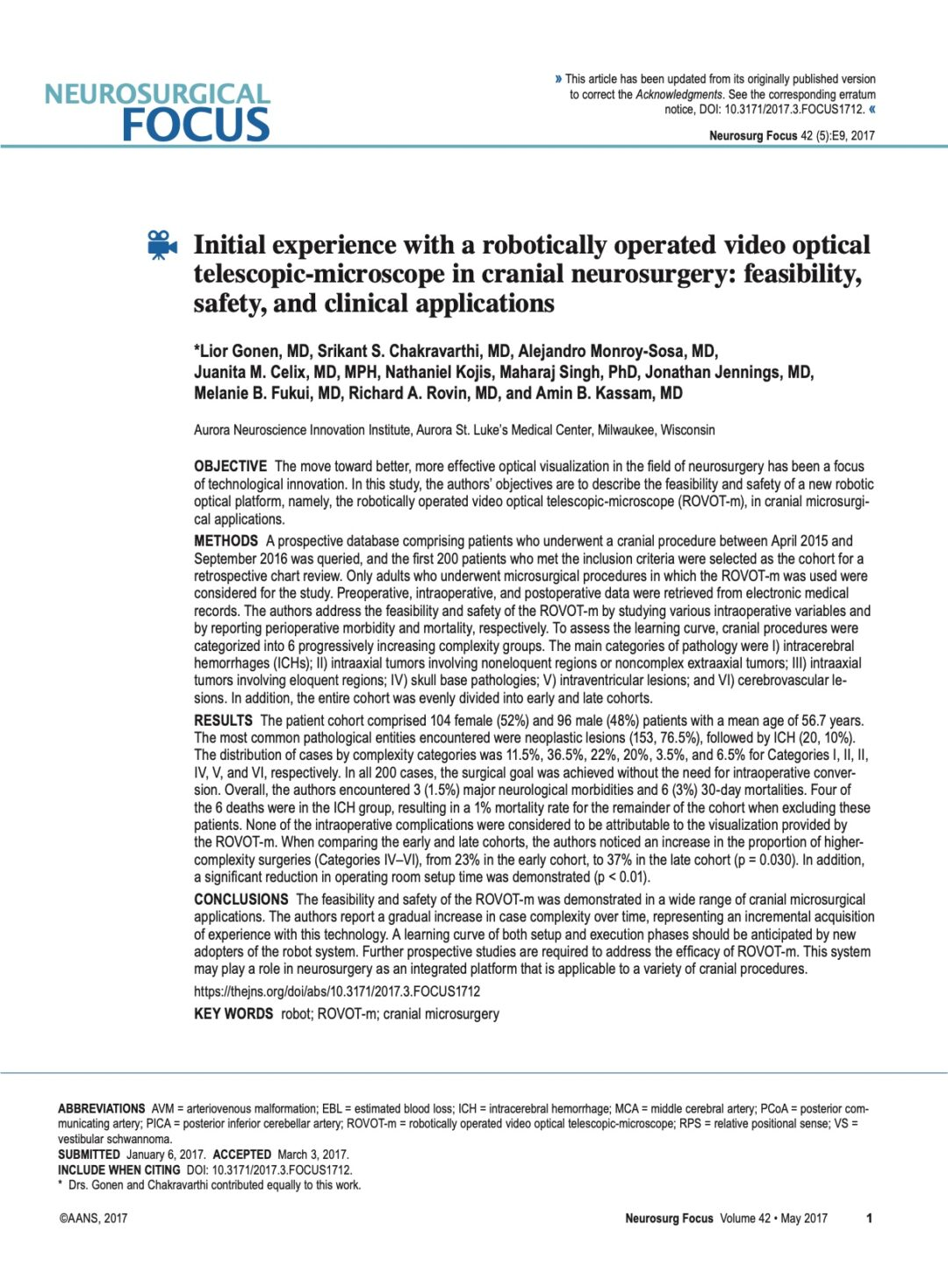 Initial experience with a robotically operated video optical telescopic-microscope in cranial neurosurgery: feasibility, safety, and clinical applications