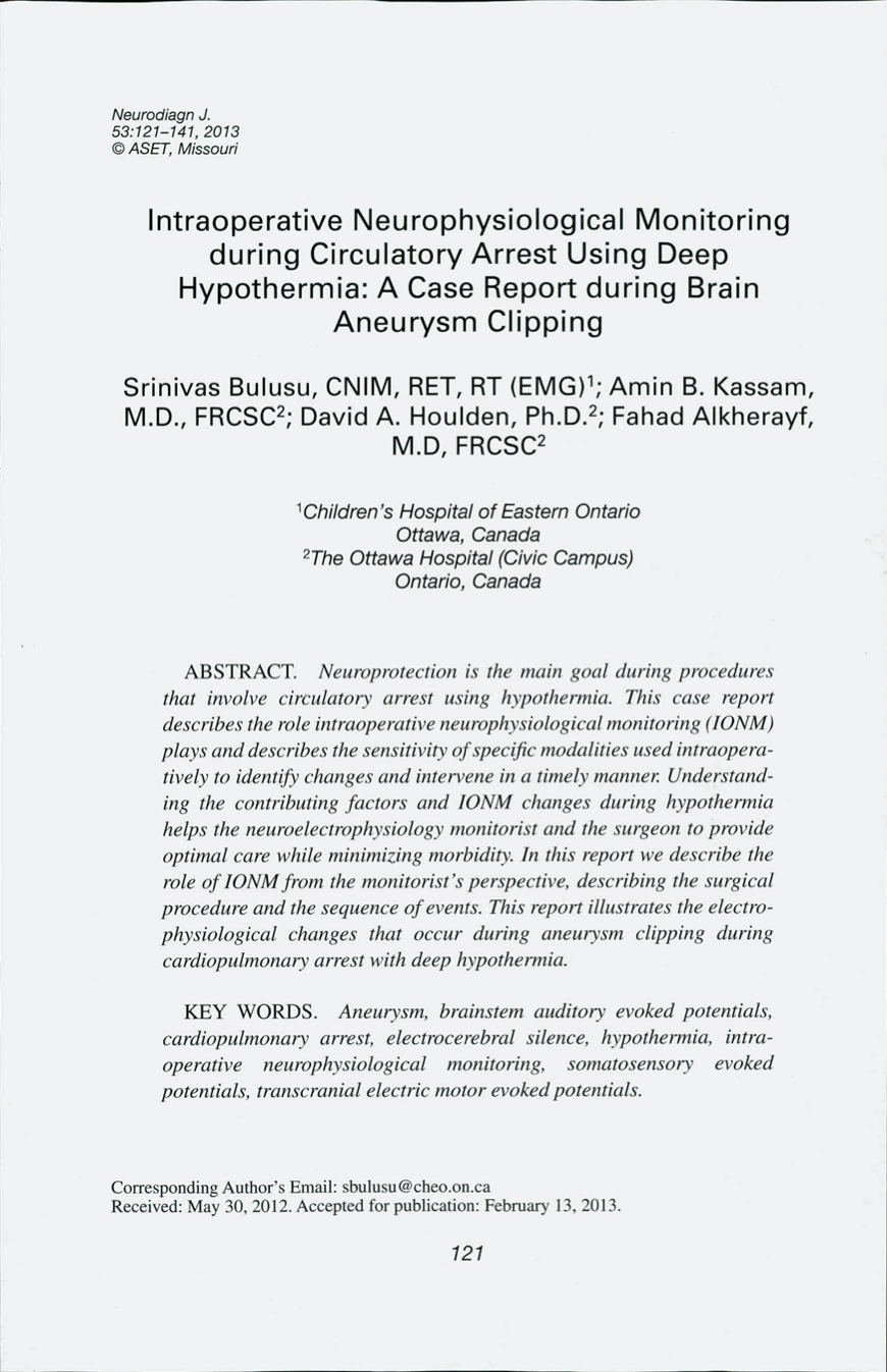 Intraoperative Neurophysiological Monitoring during Circulatory Arrest Using Deep Hypothermia: A Case Report during Brain Aneurysm Clipping