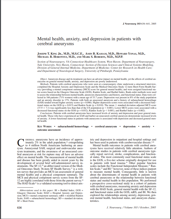 Mental health, anxiety, and depression in patients with cerebral aneurysms