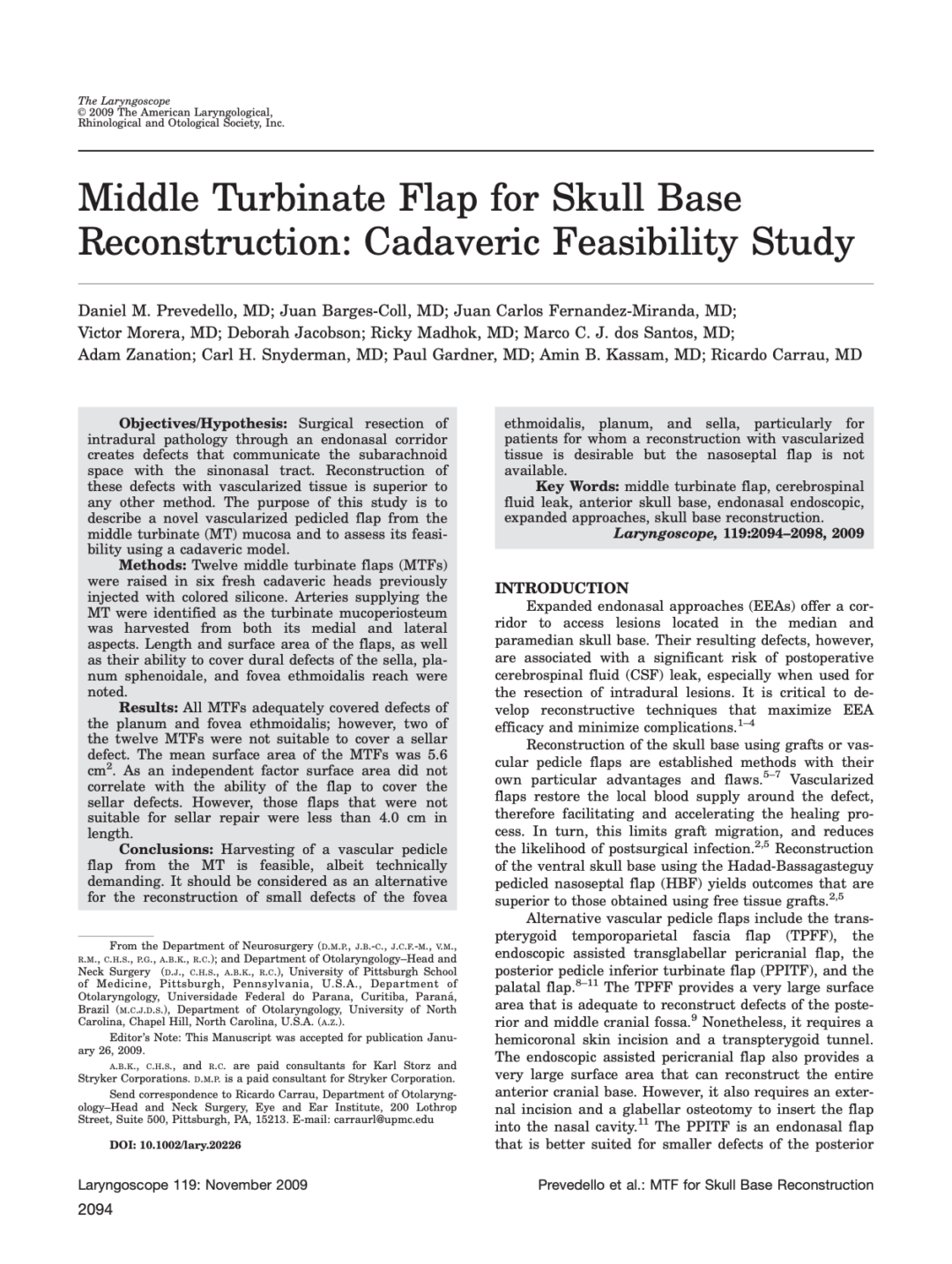 Middle Turbinate Flap for Skull Base Reconstruction: Cadaveric Feasibility Study