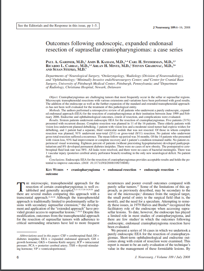 Outcomes following endoscopic, expanded endonasal resection of suprasellar craniopharyngiomas: a case series
