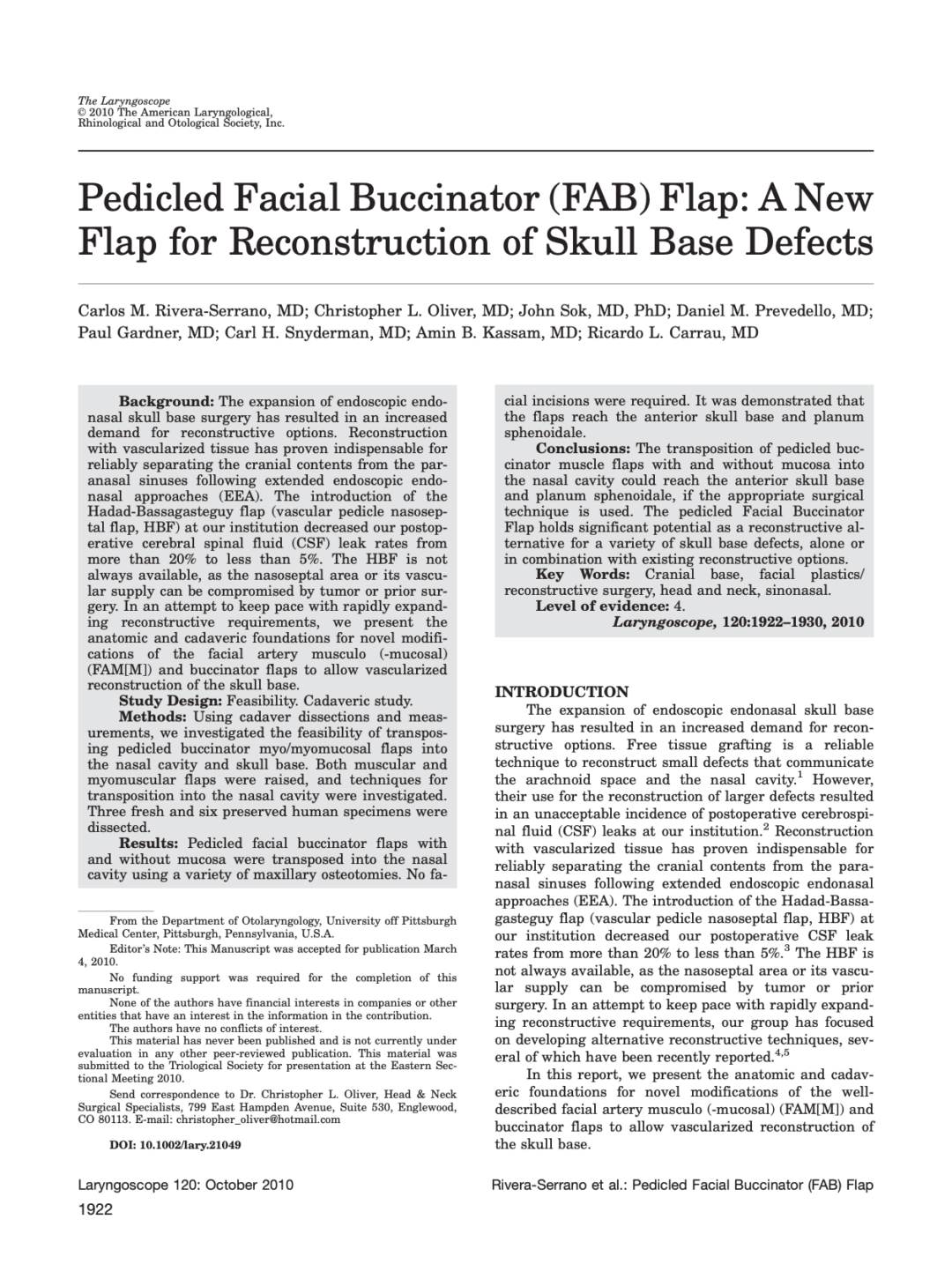 Pedicled Facial Buccinator (FAB) Flap: A New Flap for Reconstruction of Skull Base Defects