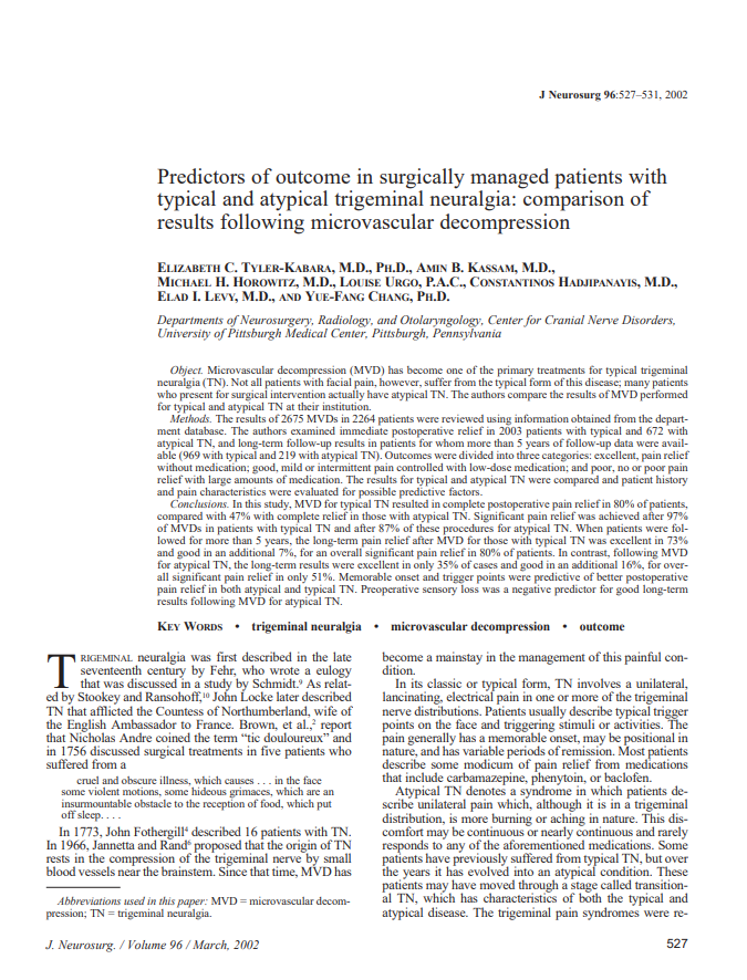 Predictors of outcome in surgically managed patients with typical and atypical trigeminal neuralgia: comparison of results following microvascular decompression