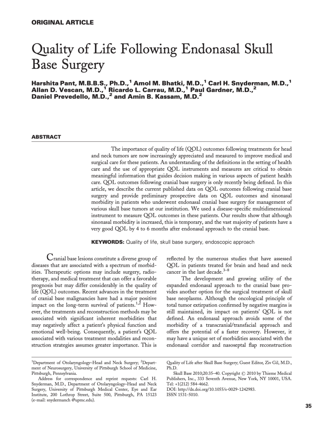 Quality of Life Following Endonasal Skull Base Surgery