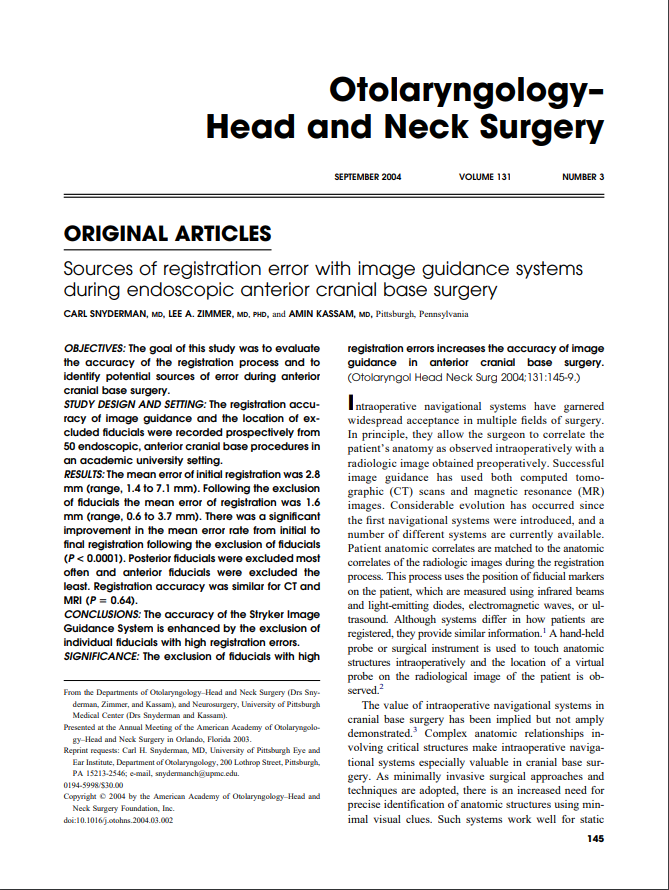 Registration errors increases the accuracy of image guidance in anterior cranial base surgery