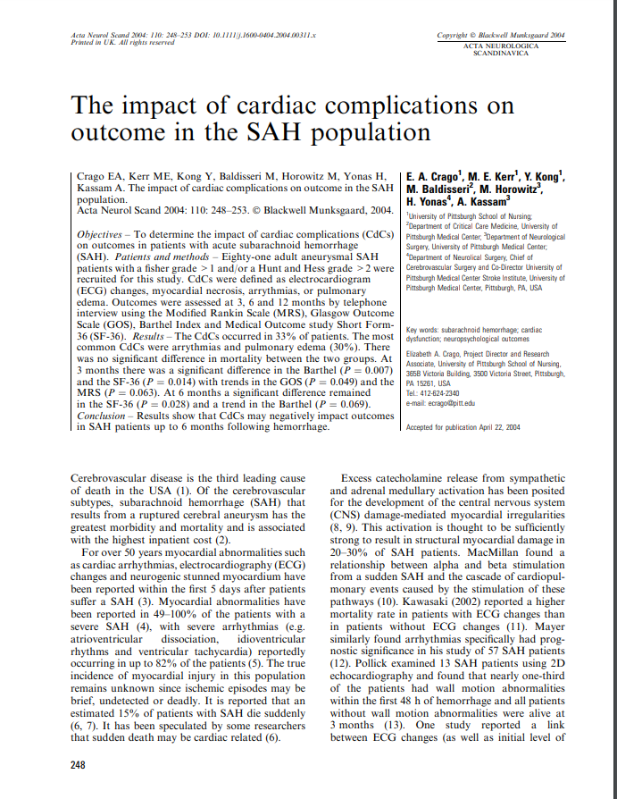 The impact of cardiac complications on outcome in the SAH population
