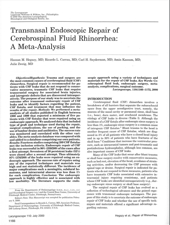 Transnasal Endoscopic Repair of Cerebrospinal Fluid Rhinorrhea: A Meta-Analysis