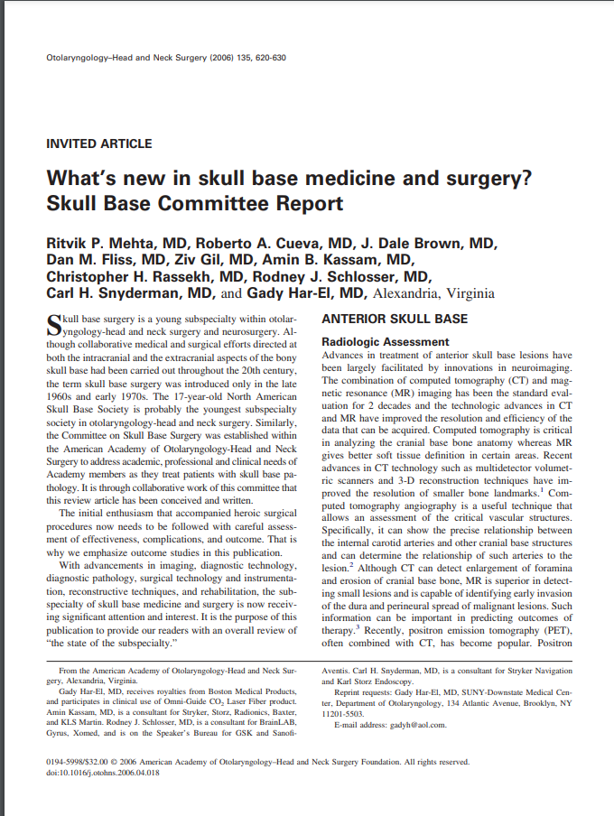 What's new in skull base medicine and surgery? Skull Base Committee Report